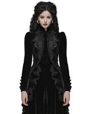Women Gothic Riding Jacket Coat Black Velvet Lace Steampunk Victorian Halloween~