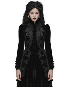 Ladies Gothic Riding Jacket Coat Black Velvet Lace Steampunk Victorian
