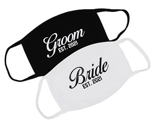 Bride Groom 2021 Couples Face Mask Wedding Gift Set Cloth Mask Made in USA