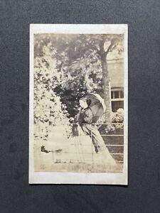 Victorian CDV: Family Elegant Grand Lady Parasol Child Outside