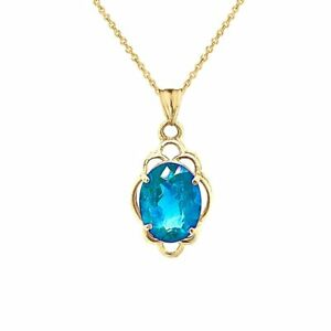 Solid  Gold Genuine Blue Topaz Oval-Shaped Clover Pendant Necklace
