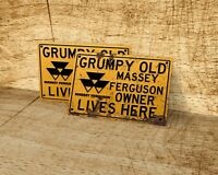 Grumpy old Massey Ferguson owner lives here sign for garage, man cave