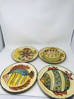 Hand Painted in Italy Fish Plates, Scalloped Edge Rare, One of a Kind Set of 4