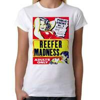 Reefer Madness - Womens White T-Shirt - Geek Retro Fun Kitsch Cute