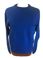 VIntage ALLISON SMITH Womens M Sweater Electric Blue Front Pocket Wool Blend 💙