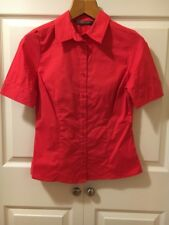 NEW MAX AZRIA TEX Button Down Top Shirt Blouse Short Sleeve S Hot Pink Career