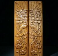"""10"""" Collect Chinese rosewood carved pine plum blossom noble paperweight A pair"""