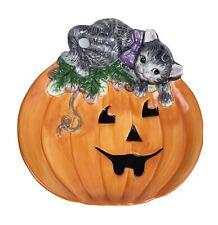 "Fitz & Floyd Halloween Plate Jack O Lantern Striped Cat Pumpkin 8"" EUC Ceramic"