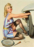 Vintage print art model poster canvas Gil Elvgren painting Tyre change car