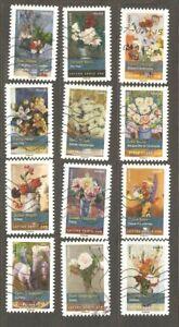 France: full set - 12 used stamps, Flower Boquets, 2015, Mi#6127-38
