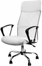 Office Swivel Desk Chair Executive High Back Pc Computer Office Chairs White PU