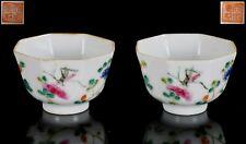Chinese Famille Rose Porcelain Hexagonal Shaped Tea Bowls TONGZHI Mark Republic