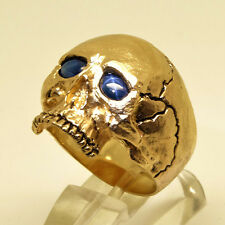 14K Yellow Gold Skull Ring 30 gr Memento Mori Biker Sapphire Size 12 by UNIQABLE