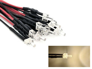10 Stück Tower LEDs 2mm Warm-Weiß Licht klar + Kabel / Litze LED 12-19V #10xB18