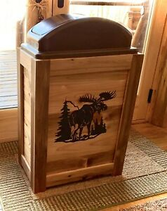 NEW RUSTIC MOOSE ANTLER TRASH CAN GARBAGE CAN 30 GAL KITCHEN CABIN DECOR