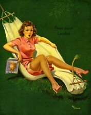 FRAHM pinup VINTAGE Pin-Up WWII BOMBER NYLONS NOSE ART UPSKIRT STOCKINGS 3-POINT