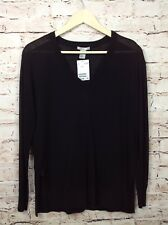 H & M Small NWT Light V-Neck Black Sweater Women's Long Sleeve Shirt Blouse