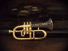 Trumpet Brooch 22ct Gold Plated Vintage Montana Blue Crystal Cornet
