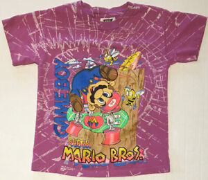 Vintage 1991 Awesome Super Mario Nintendo Game Boy T-Shirt Rare Kids Size 8/10