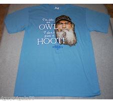 MENS Tee Shirt DUCK DYNASTY  Medium 38-40 Lt Blue LIKE AN OWL Don't Give a Hoot