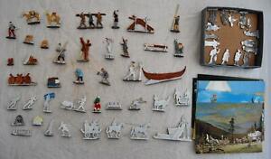 Job Lot of 66 Flat Metal Zinnfiguren + Postcards - Boat Builders, Horses, Market