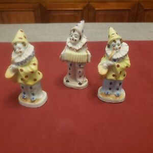 """Vintage Set of 3 Occupied Japan Bisque Figurines  """"CLOWNS""""  4"""" Tall"""