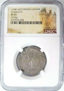 Charles VI France Silver Blanc Guenar 1380-1422 NGC VF25 Medieval Cross Shield