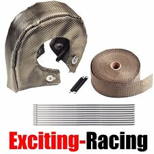 "T4 Titanium Turbo Heat Shield Blanket Cover + 2"" 50FT Exhaust Header Wrap Tape"