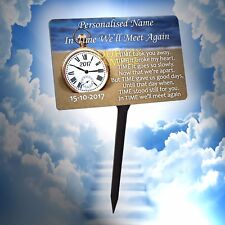 Quality TIME Personalised Memorial Plaque. Weather proof, for garden, grave etc