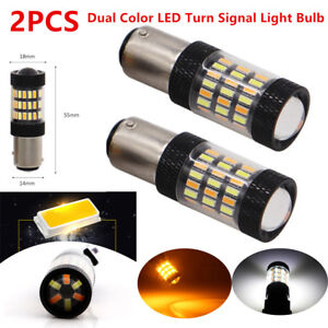 2PCS 1157 Car SUV LED Dual Color White Amber Switchback Turn Signal Light Bulbs