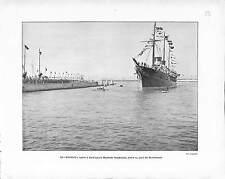 REVUE NAVALE DUNKERQUE TSAR NICHOLAS II A BORD  STANDART  ANTIQUE PRINT 1901