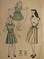 VTG 30s BUTTERICK 3880 Girls Dirdl Dress w Scalloped Trim PATTERN 6/24B
