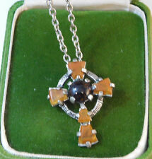 """Vintage signed Miracle Silver Celtic Cross Amber Agate Brooch 24"""" Necklace 2c 31"""
