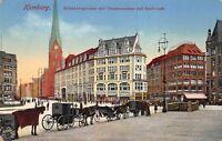 Hamburg Germany c1910 Postcard Monkebergstrasse mit Vermannhaus & Stadt Cafe