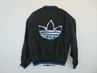 Vintage 80s Adidas Trefoil Windbreaker Zip Jacket Mens M Full Zip Black Spellout