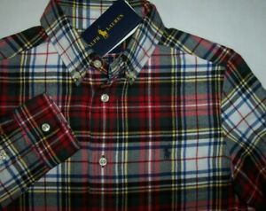 NWT Ralph Lauren Red/White STEWART Plaid Flannel Shirt POLO PONY Boys L 14/16