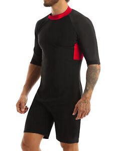 US Mens Wetsuit Swimming Bodysuit Half Sleeves Diving Surfing Jumpsuit Swimwear