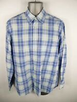 MENS GANT BLUE/WHITE CHECKED BUTTON UP LONG SLEEVED CASUAL SHIRT SIZE L LARGE