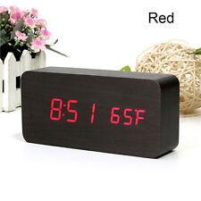 LED Alarma Reloj De Madera Sonidos Exhibición Temperatura Control Despertadores