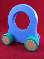 Manhattan Toy Company Blue Wood Giggle Car Circle Wooden Green Rubber Tires