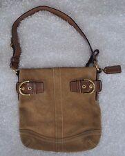 Coach Camel Suede Brown Leather Trim Bag F05S-3567 Purse Bucket Handbag Shoulder