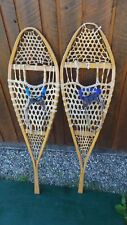 """OLD Snowshoes 47"""" Long x 14"""" Wide GROS LOUIS Leather Binding Great DECORATION"""