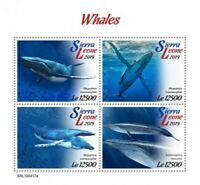 Sierra Leone - 2019 Whales on Stamps - 4 Stamp Sheet - SRL190417a