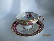 VINTAGE ROYAL CROWN FOOTED CUP & SAUCER,ENGLAND 22/852, White with multicolor