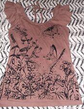 Cute muted pink ruffle short sleeve frill black floral & butterflies vest top 8
