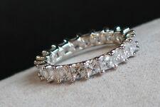 Genuine 925 Silver Bling Chunky Cz emerald cut Full eternity ring,wedding band