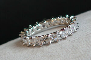 Original 925 Silber Bling Chunky CZ Smaragd Cut Full Eternity Ring, Ehering
