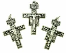 San Damiano Cross of Saint Francis Silver Tone Crucifix Pendant, Lot of 3, 2 In