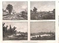 Cardiff.Wales.Antique print.Genuine.1886.Landscape.Church.Sandby.Farming.Art