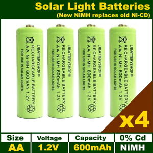 4 x AA Solar Light Batteries Rechargeable 1.2V 600mAh NiMH (Replaces old NiCd)